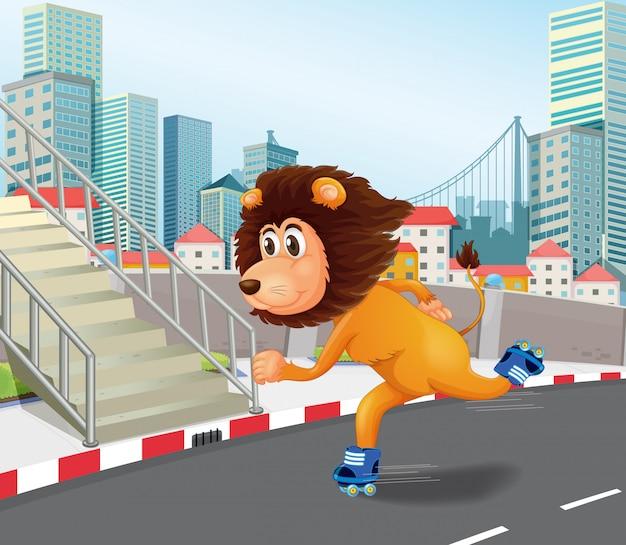 Ein löwe-rollschuh in der städtischen stadt