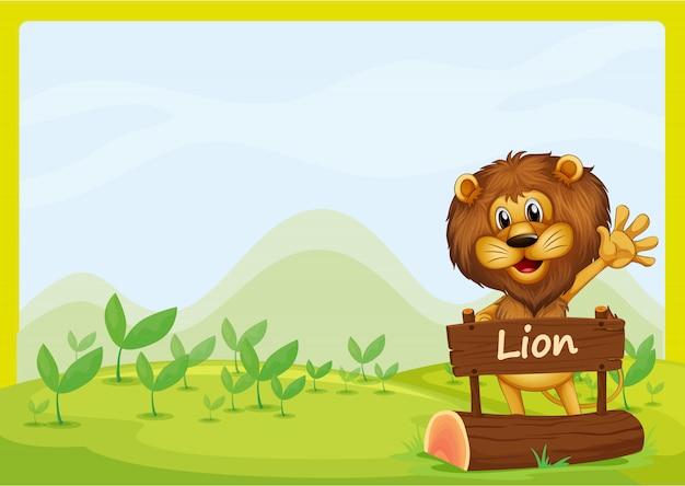 Ein löwe und das schild