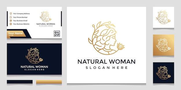 Ein logo mit einem hübschen gesichtslinienstil und einem visitenkartenentwurf. designkonzept für schönheitssalon, massage, kosmetik.