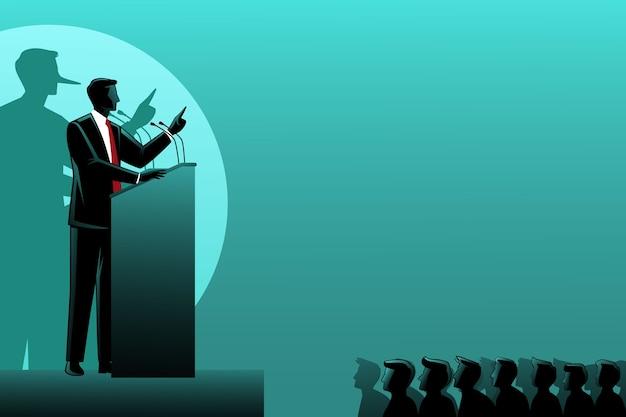 Ein lügner geschäftsmann spricht auf dem podium