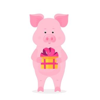 Ein lustiges schwein, das eine schachtel mit einem geschenk hält, das mit einem band mit einer schleife gebunden ist. lustiges schweinchen. das symbol des chinesischen neujahrs.