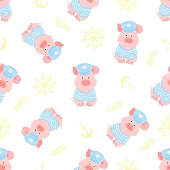 Ein lustiges schweinchen in einem seemannspullover und kapitänsvisier nahtloses muster