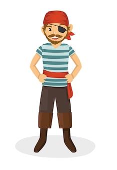 Ein mächtiger einäugiger pirat, der roten kopftuch trägt