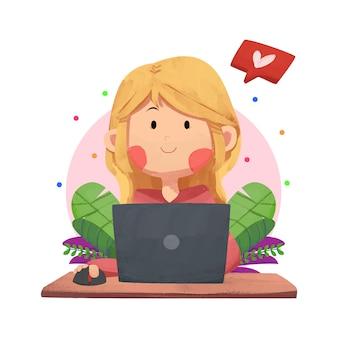Ein mädchen bei der arbeit, das mit einem laptop arbeitet