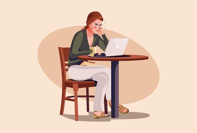 Ein mädchen benutzt laptop-illustration