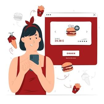 Ein mädchen bestellen essen online-illustration