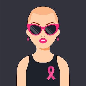 Ein mädchen, das brustkrebs besiegt hat. pink ribbon zur unterstützung der frauen