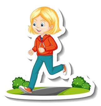 Ein mädchen, das cartoon-charakter-aufkleber joggt