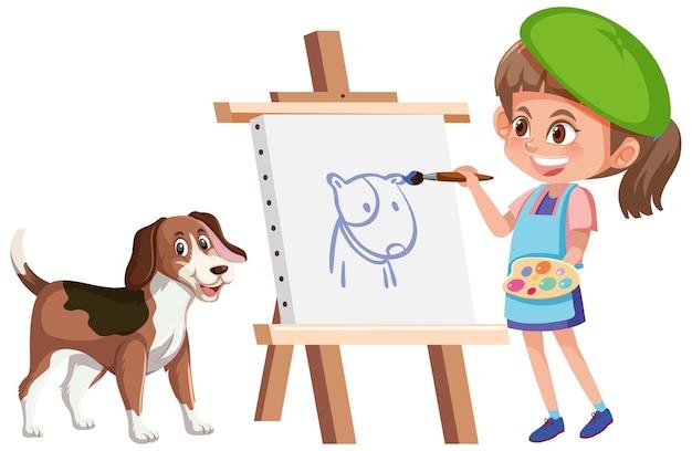 Ein mädchen, das ein hundebild lokalisiert auf weißem hintergrund malt