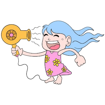 Ein mädchen, das haartrockner spielt, wird auf ihr gesicht gerichtet, um ihr haar zu trocknen, vektorgrafiken. doodle symbolbild kawaii.