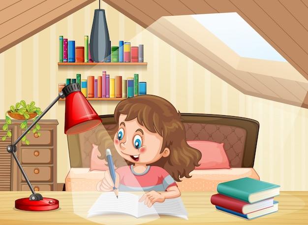 Ein mädchen, das im schlafzimmer lernt