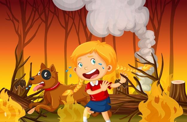 Ein mädchen, das im wildfire forest weint
