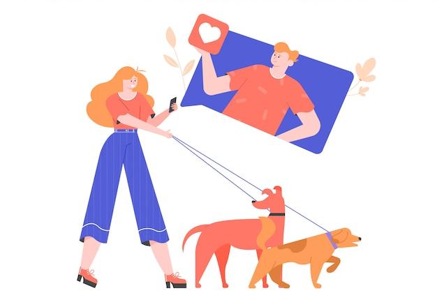 Ein mädchen, das mit hunden spazieren geht, nutzt eine mobile online-dating-anwendung, um einen partner zu finden. likes und soziale netzwerke. konzept flache illustration mit hellen zeichen.