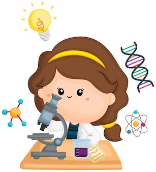 Ein mädchen, das mit ihrem mikroskop forscht