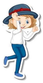 Ein mädchen, das pose-cartoon-charakter-aufkleber steht