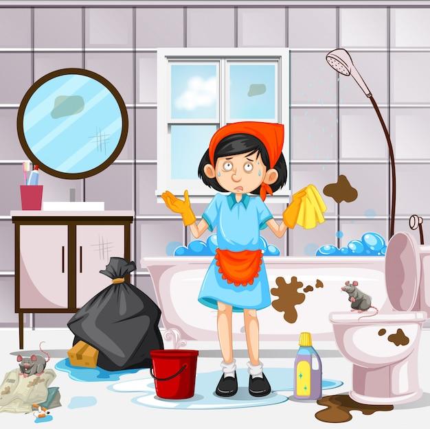 Ein mädchen, das schmutziges badezimmer säubert