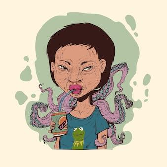 Ein mädchen, das von oktopus-tentakeln bedeckt ist