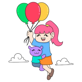 Ein mädchen fliegt in einem ballon und umarmt ihr haustier, vektorgrafiken. doodle symbolbild kawaii.