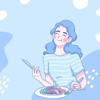 Ein mädchen genießt mit ihrem frühstück. karikaturillustrationsentwurf