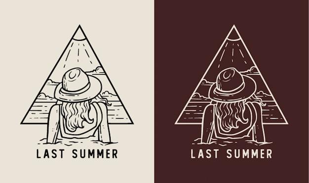 Ein mädchen im letzten sommer monoline abzeichen illustration
