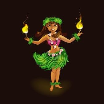 Ein mädchen in der hawaiischen kleidung, die hula mit fackeln tanzt.