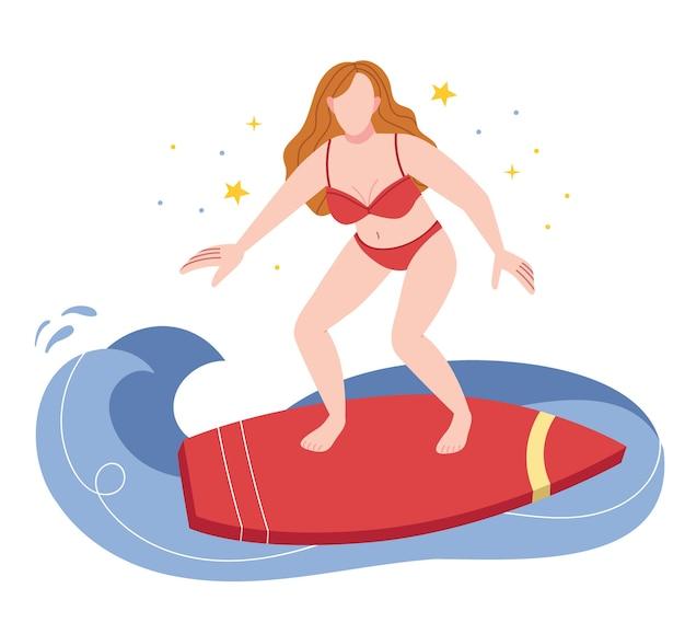 Ein mädchen in einem roten badeanzug surft. frau im urlaub mit surfbrett am strand in der nähe des ozeans.