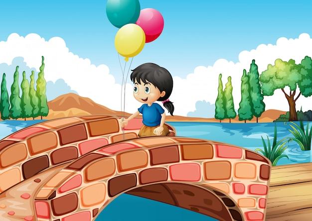 Ein mädchen mit drei ballonen, die entlang die brücke gehen