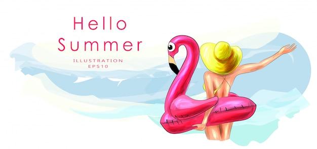 Ein mädchen mit einem aufblasbaren flamingokreis steht auf und schaut zum meer. rückansicht des mädchens. gebräuntes schönes mädchen in einem badeanzug. strandurlaub und urlaubskonzept. sommer sonniger strand, meeresbrise