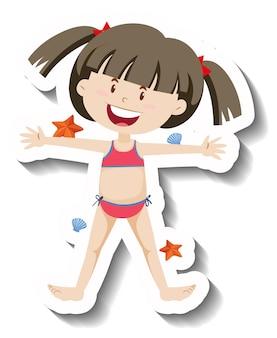 Ein mädchen mit einem roten bikini-scartoon-aufkleber