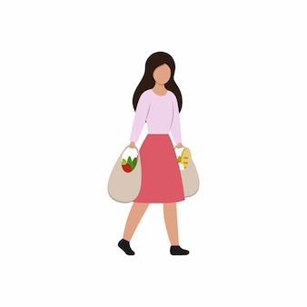 Ein mädchen mit einkäufen kommt aus dem laden. eine frau trägt tüten mit lebensmitteln und lebensmitteln. rabatte, aktionen und verkäufe.