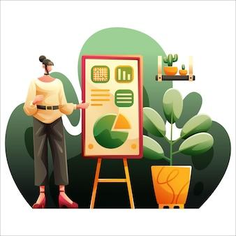 Ein mädchen online-unterricht klasse illustration