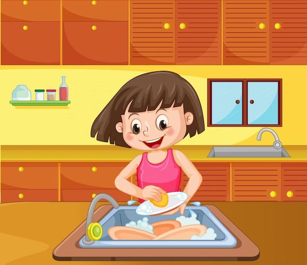 Ein mädchen-reinigungs-teller an der küche