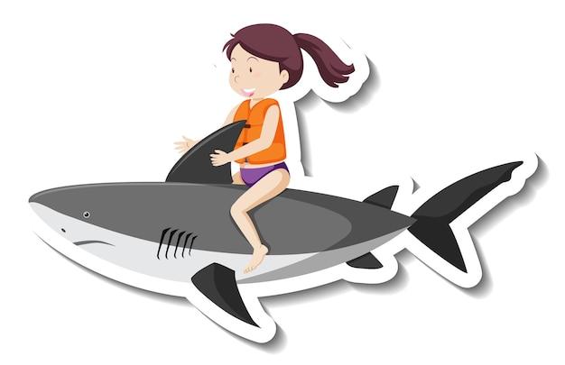 Ein mädchen reitet aufblasbaren hai-cartoon-aufkleber