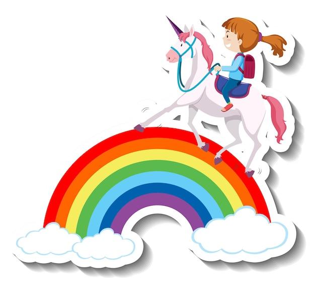 Ein mädchen reitet einhorn auf dem regenbogen