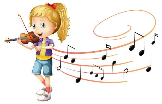 Ein mädchen spielt geige mit melodiesymbolen auf weißem hintergrund