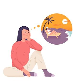Ein mädchen träumt vom urlaub an einem sonnenuntergangsstrand beim trinken