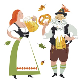 Ein mädchen und ein älterer deutscher in trachten trinken bier vektor-illustration