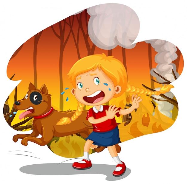 Ein mädchen und ein hund im wildfire forest