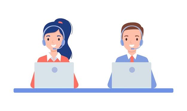 Ein mädchen und ein mann in kopfhörern, das konzept eines callcenters und online-kundenbetreuung. vektorillustration im flachen stil.