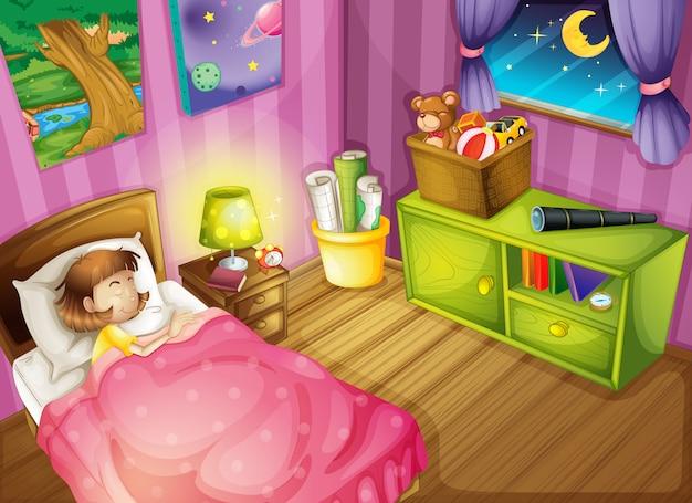 Ein mädchen und ein schlafzimmer