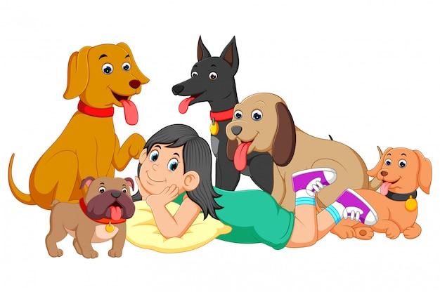 Ein mädchen und ihre fünf hunde