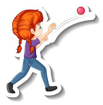 Ein mädchen wirft ball-cartoon-charakter-aufkleber