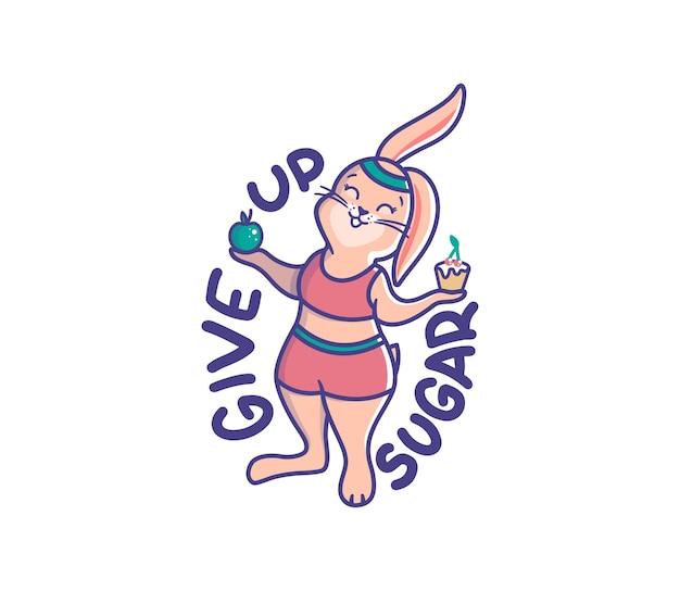 Ein mädchenhase, der einen kuchen und einen apfel hält. cartoonisches kaninchen