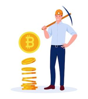 Ein männlicher bergmann in einem bergmannshelm mit einer spitzhacke. stapel von bitcoin-münzen. vektorkonzept im flachen cartoon-stil. isoliert auf weißem hintergrund.