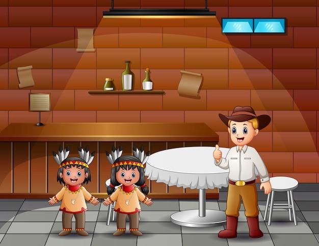 Ein männlicher cowboy mit indischen kindern im café