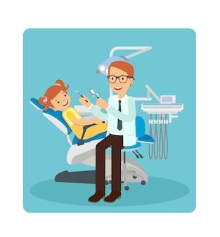 Ein männlicher zahnarzt, der zähne eines jungen mädchens überprüft
