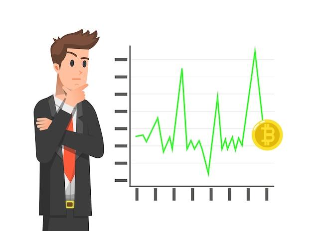 Ein mann analysiert die bewegung von bitcoin