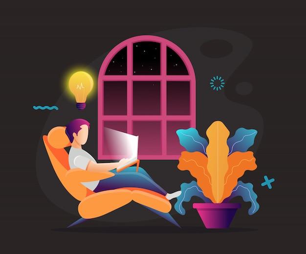 Ein mann bei der arbeit. arbeiten an einem laptop. bunter .arbeitsplatz. webseitenvorlage. schwarzer hintergrund. illustration