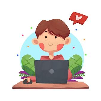Ein mann bei der arbeit, der mit einem laptop arbeitet