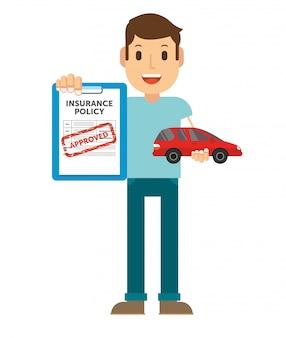 Ein mann benutzt eine versicherung, um ein auto zu versichern, wenn es zerstört wird